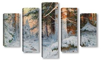 Модульная картина Зимняя Лесистая местность в Солнечном свете