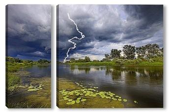 Модульная картина Молния на реке