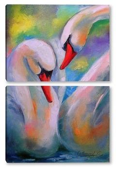 Модульная картина Пара белых лебедей