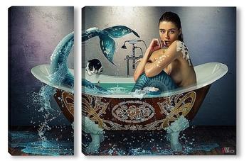 Модульная картина Русалка в ванной.