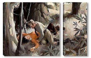 Модульная картина Любовь в лесу