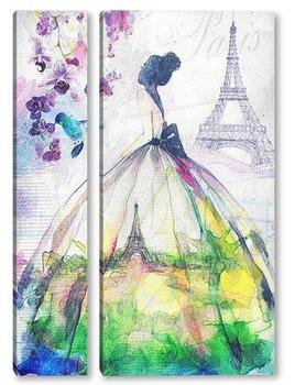 Модульная картина Парижская невеста