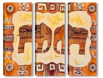 Модульная картина Два слона