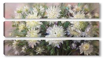 Модульная картина Белые хризантемы