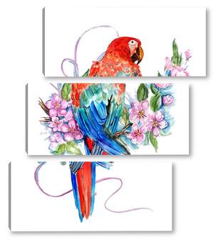 Модульная картина Попугай на ветке, попугай ара