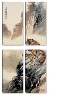 Модульная картина Тигры у водопада