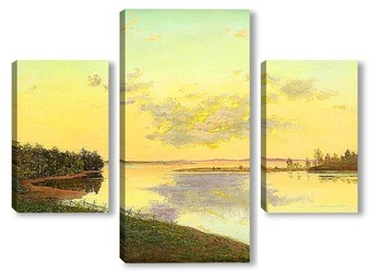 Модульная картина Закат над озером
