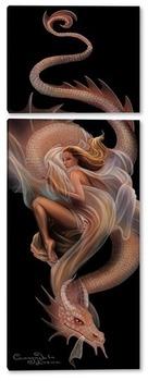 Модульная картина Девушка и дракон