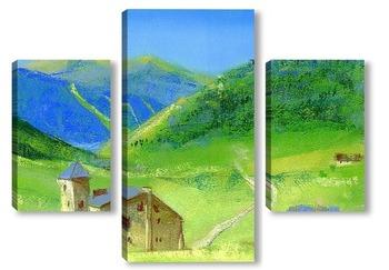 Модульная картина Альпийский замок