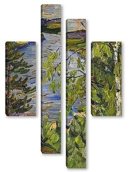 Модульная картина Пейзажи Северной Швеции с водопадом