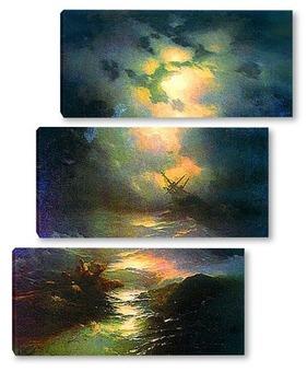 Модульная картина Буря на Северном море,1865