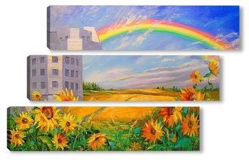 Модульная картина Под радугой