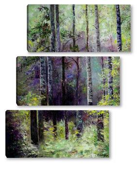 Модульная картина В темно-синем лесу...