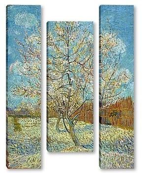Модульная картина Персиковое дерево в цвету