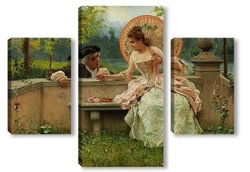 Модульная картина Любовный разговор в парке