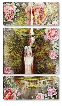 Водопад и синие цветы