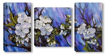 Модульная картина Ветка цветущей вишни