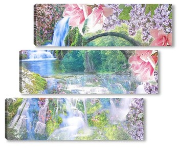 Модульная картина цветочный водопад