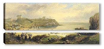 Модульная картина Приорат и замок, старый маяк рядом
