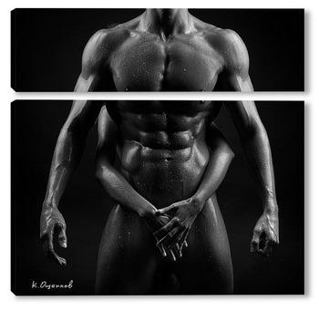 Модульная картина Мускулистый мужчина и стройная девушка