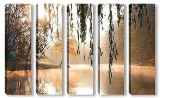Модульная картина утро на озере