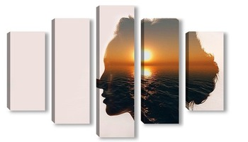 Модульная картина Силуэт красивой девушки и закат над морем