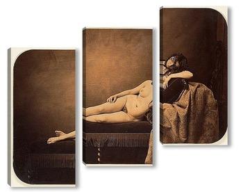 Модульная картина Обнаженная женщина, на диване