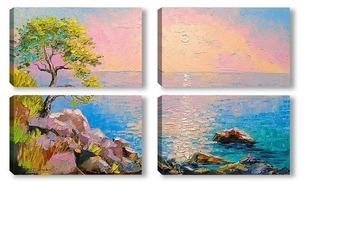 Модульная картина Рассвет на Крымском побережье