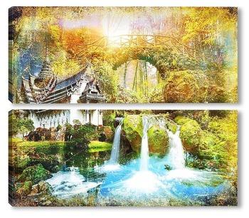 Модульная картина Освежающий водопад