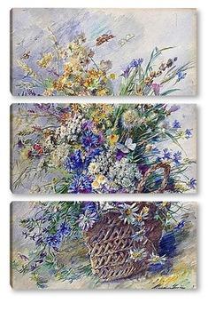 Модульная картина Корзина с полевыми цветами и две бабочки