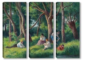 Модульная картина Ближе к вечеру в лесу