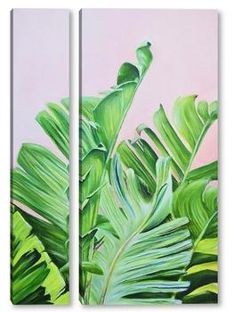 Модульная картина Тропические листья маслом