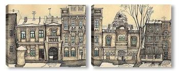 Модульная картина старая улица