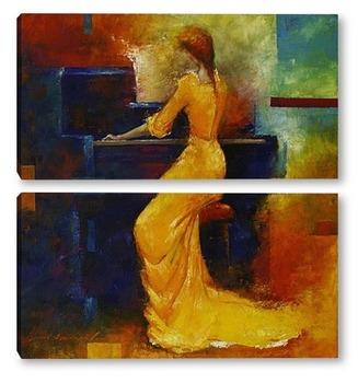 Модульная картина Жёлтая пианистка