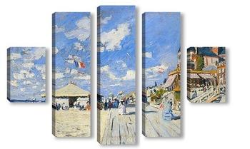 Модульная картина Тротуар на пляже в Трувиль