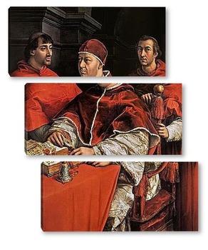 Модульная картина Портрет папы Льва X с кардиналами Джулио де Медичи и Луиджи де Р