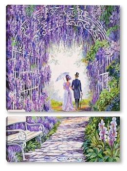 Модульная картина В цветущем парке