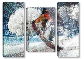 Модульная картина Прыжок на сноуборде