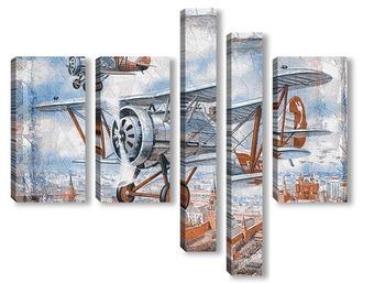Модульная картина Под крылом самолёта