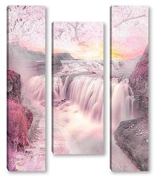 Модульная картина Водопад на закате