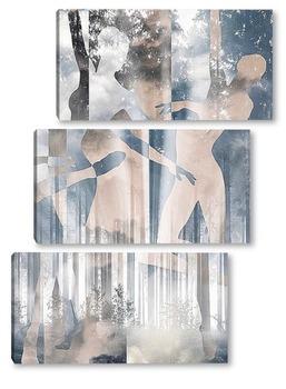 Модульная картина Танец в лесу