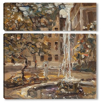 Модульная картина Фонтан в парке