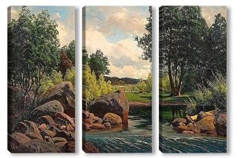 Модульная картина Речной пейзаж.