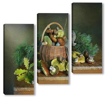 Модульная картина Козинка с лесными грибами