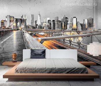 Фотообои Нью-Йорк с Бруклинским мостом